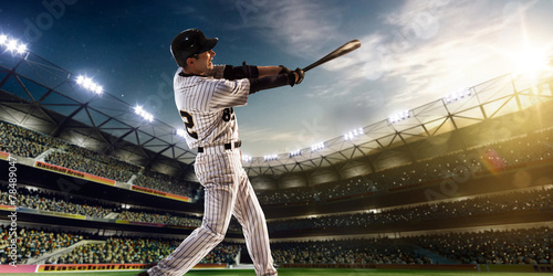 Professional baseball player in action - 78489047