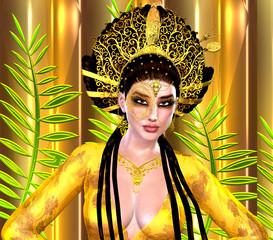Asian woman, close up with beautiful cosmetics.