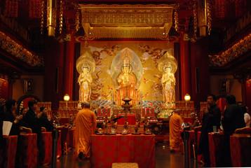Buddha Maitreya Trinity in the Buddha Tooth Relic Temple