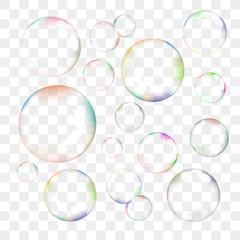 Set of transparent vector soap bubbles