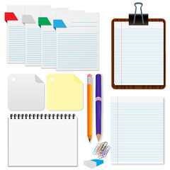 Set, paper, sheets, pencil, stationery vector illustration