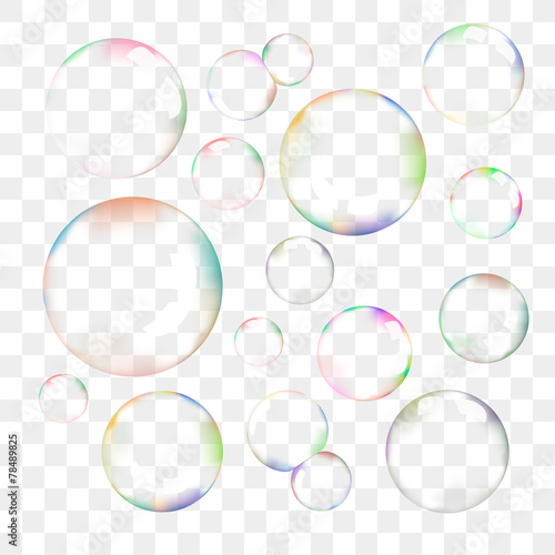 Set of transparent vector soap bubbles - 78489825