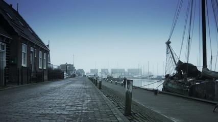 Harbor in the fog. Marken, The Netherlands