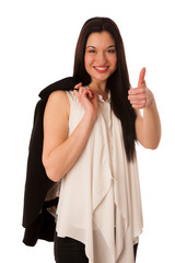 Young asian business woman showing thumb up gesturing success -