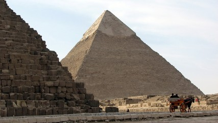 Pyramid of Khafre by the Great Pyramid of Giza, Egypt