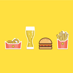 Vector illustration of various american food items flat