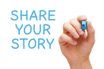 Share Your Story Blue Marker