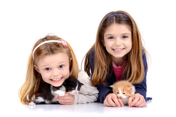 Girls with kittens
