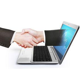 laptop screen to shake hands