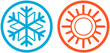 weather icons with sun and snowflake