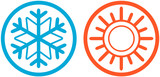 Fototapety weather icons with sun and snowflake