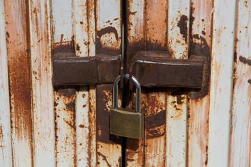 Closed door with a padlock