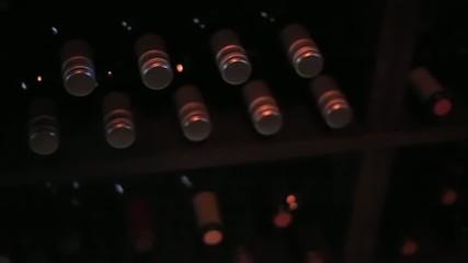 Pan of Bottles of Wine Laying Flat on Wine Rack