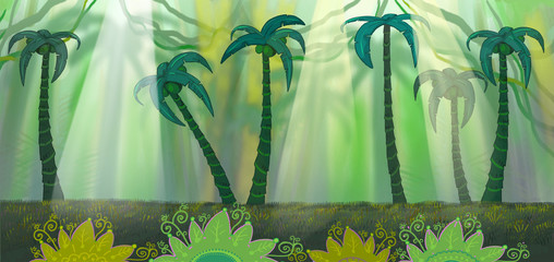 Wild jungle.Tropical green island with palm trees.Panorama.