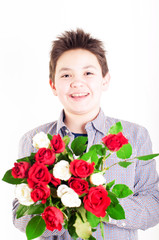 Boy with roses