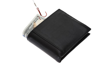 Banknote In Wallet With Fish Hook
