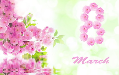 March 8. Flower. Womans day.