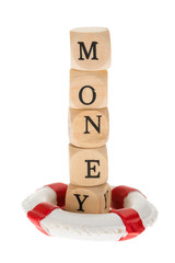 Word Money On Wooden Piece With Life Belt