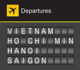 Vietnam flip alphabet airport departures, Ho Chi Minh, Hanoi