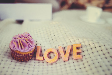 """Cupcake with inscription """"LOVE"""" on plaid"""