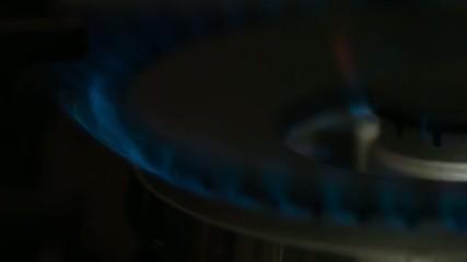 Gas Stove Burner Flame, Slow Motion