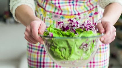 Woman Mixing Salad, Slow Motion