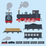 Old train flat style. EPS8. - 78493646
