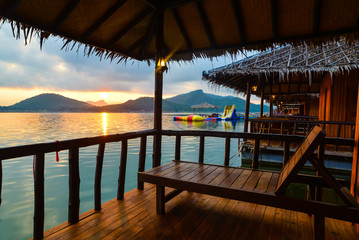 Beautiful sunrise in the morning on the lake, Thailand