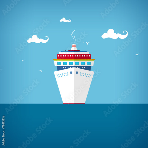 Cruise ship at sea or in the ocean in a sunny day - 78493836