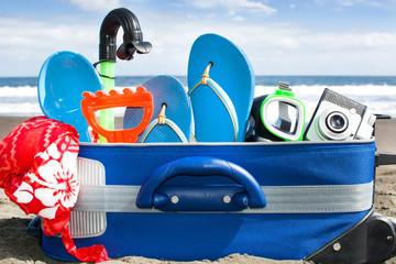 suitcase on beach