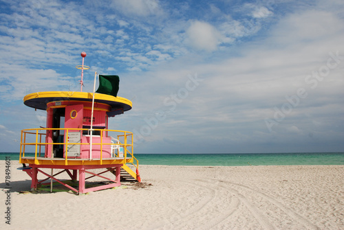 canvas print picture Miami Beach Swimmers Lifeguard Station
