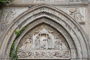 Saint John Evangelista church front door decoration