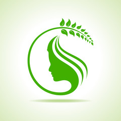 Eco icon with women face stock vector