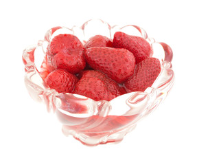 Bowl of canned strawberries