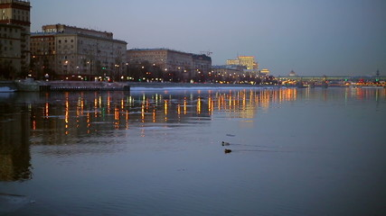 Ducks floating on the river in winter evening city