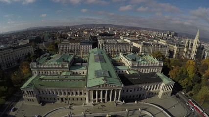 Bird's eye view on Austrian Parliament in Vienna.
