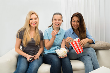 Young Women Watching Television