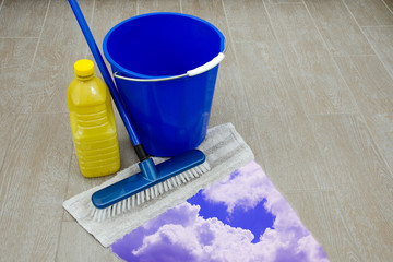 cleaning products on old floor