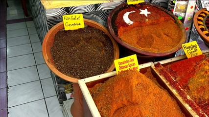 showcases with spices