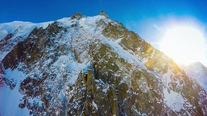 Aiguille du Midi - aerial view, Mont Blanc massif