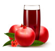 Glass of pomegranate juice with fruit. Vector.