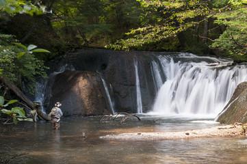 Senior fisherman catching fishes in fresh stream