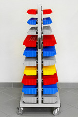Colourful workshop trolley