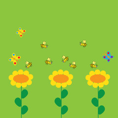 background with flowers and bee