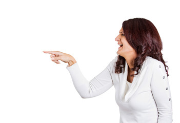 Side profile woman laughing pointing finger at someone
