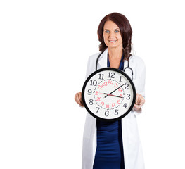 Female doctor healthcare professional holding wall clock