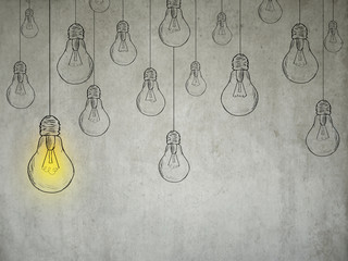 idea concept with light bulbs on grey wall background