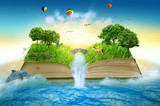 Fototapety Illustration magic opened book covered grass trees waterfall