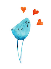 Bird blue with hearts. Watercolor Hand drawing