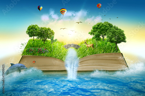 Illustration magic opened book covered grass trees waterfall